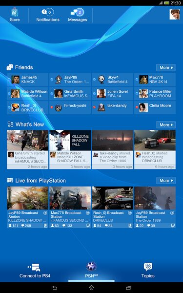 playstation app tablette android