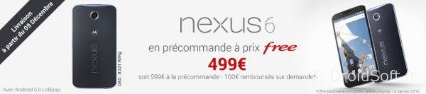 free mobile nexus 6 499 euros