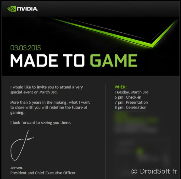 nvidia jeu android annonce