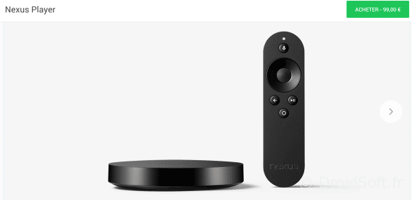 nexus player vente france 99 euros pas cher
