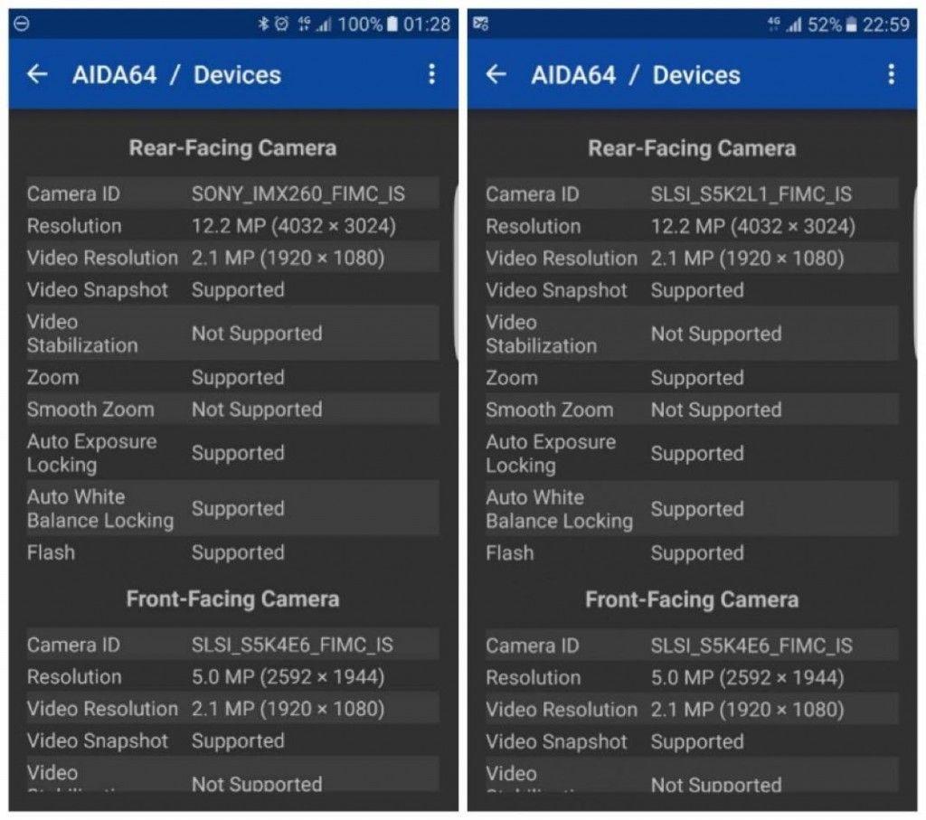 A gauche, un Galaxy S7 avec capteur Sony, à droite avec capteur Samsung