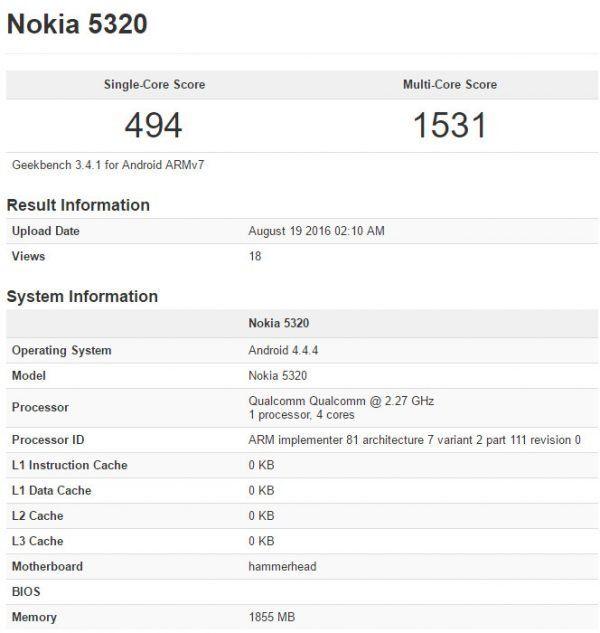 Nokia 5320 Geekbench