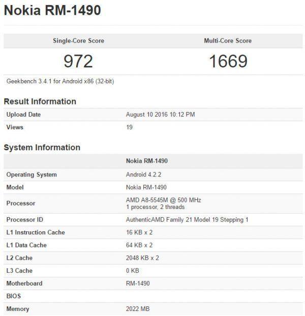 Nokia RM-1490 Geekbench