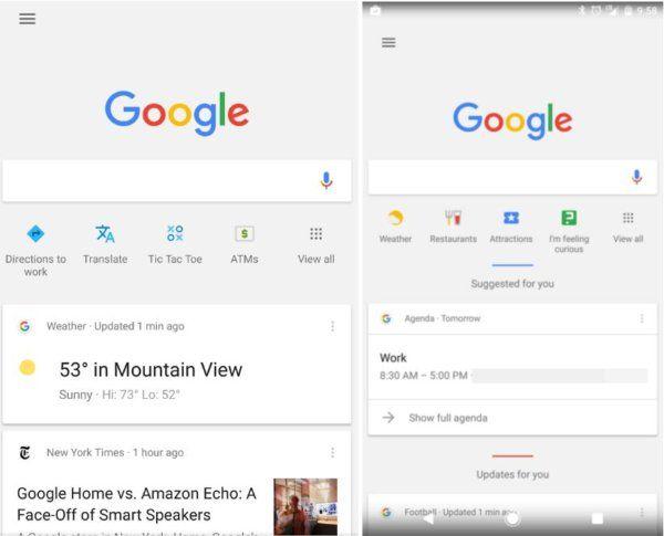 nouveaux raccourcis Google Now