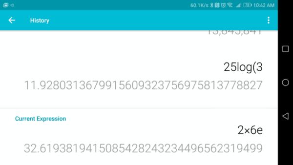 , Google Calculatrice est mis à jour à la version 7.2 et intègre un historique