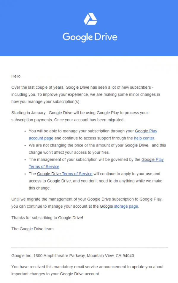 , Google Drive : l'achat d'espace supplémentaire se fait maintenant par le Play Store