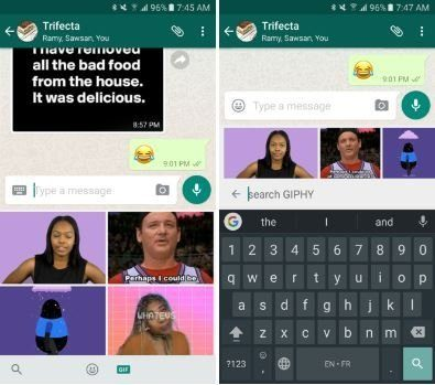, WhatsApp prend désormais en charge la recherche interne de GIF