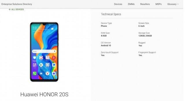 Honor 20s 20SE téléphone nouveau emui capteur écran google play console list encoche