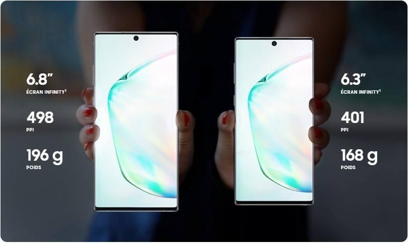 Format des Galaxy Note 10 et Note 10+