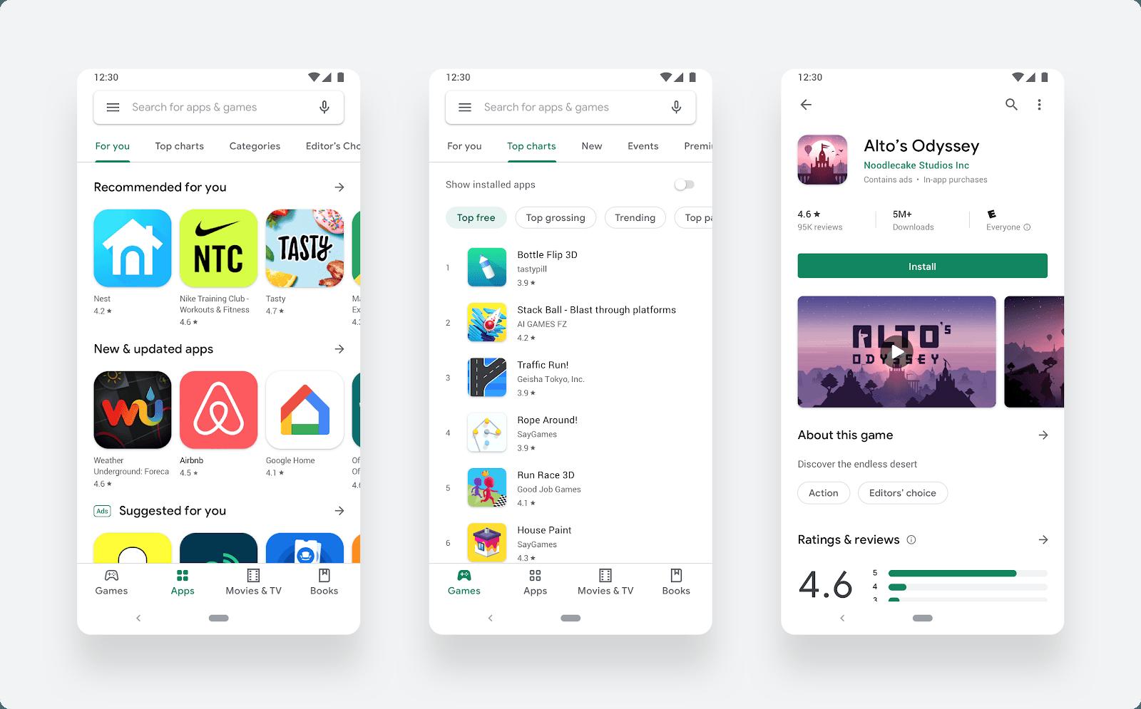 Google Play Store Material Design nouveau