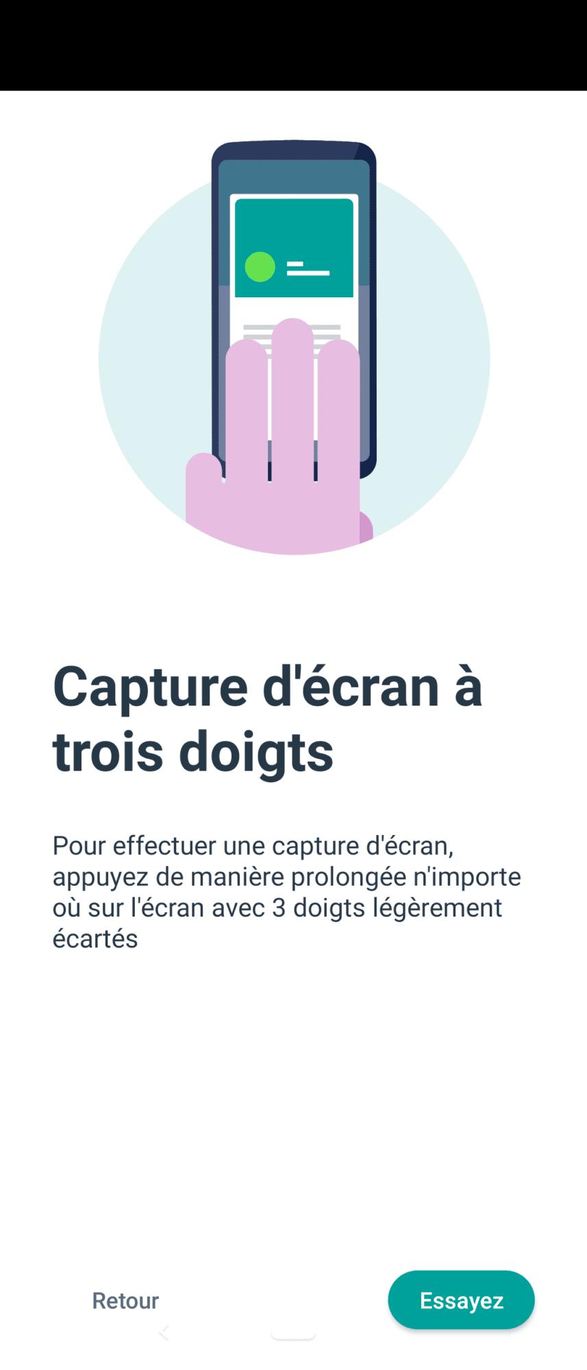 capture d'écran à 3 doigts