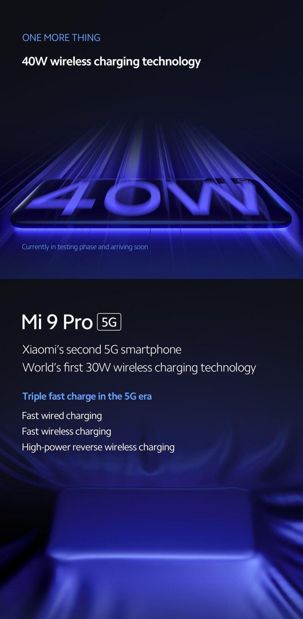 Xiaomi Mi Charge Turbo Dock Mi 9 Pro 5G tech téléphone sans-fil inversé technologie rapide