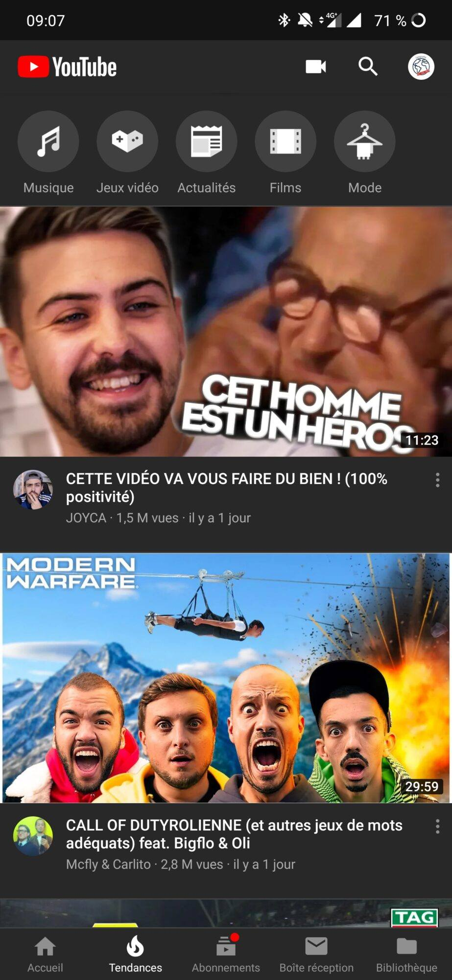Mode Sombre YouTube