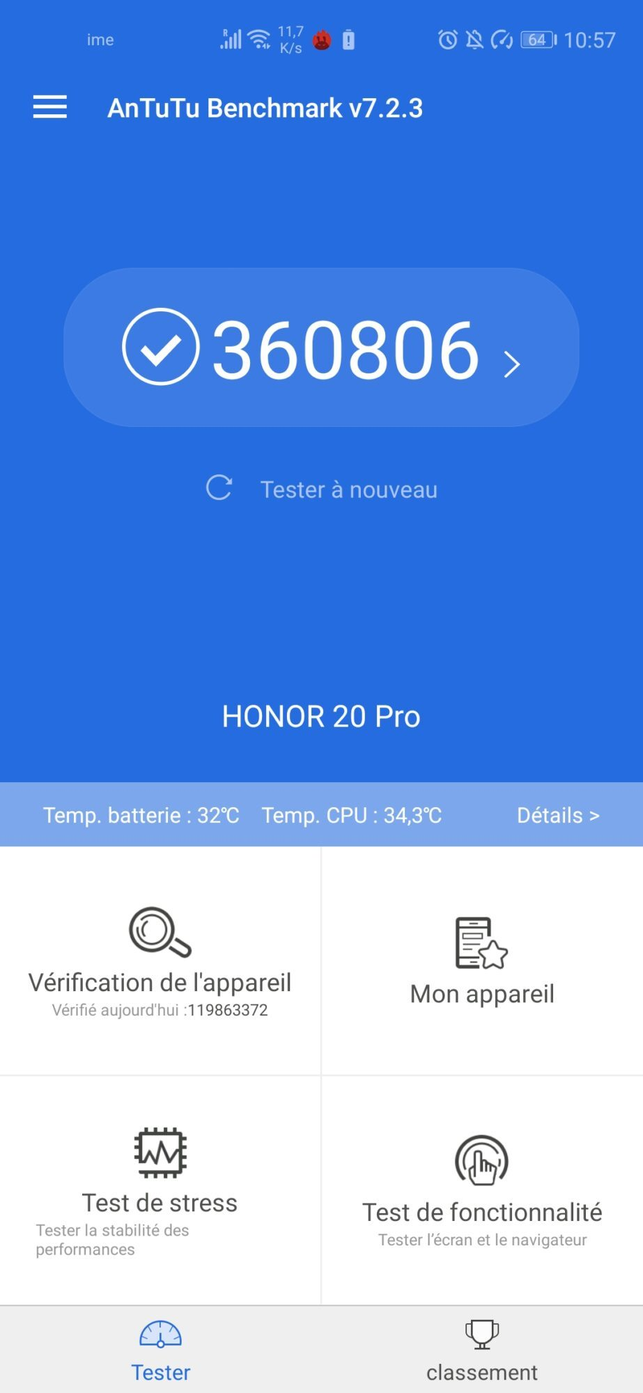 honor 20 pro capteurs 48 MP Android Magic UI performances Kirin 980 Ai Antutu indice score