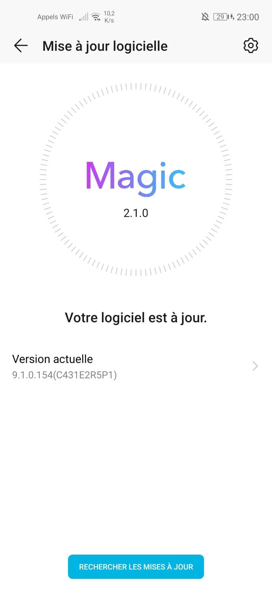 honor 20 pro capteurs 48 MP Android Magic UI mise à jour correctif sécurité