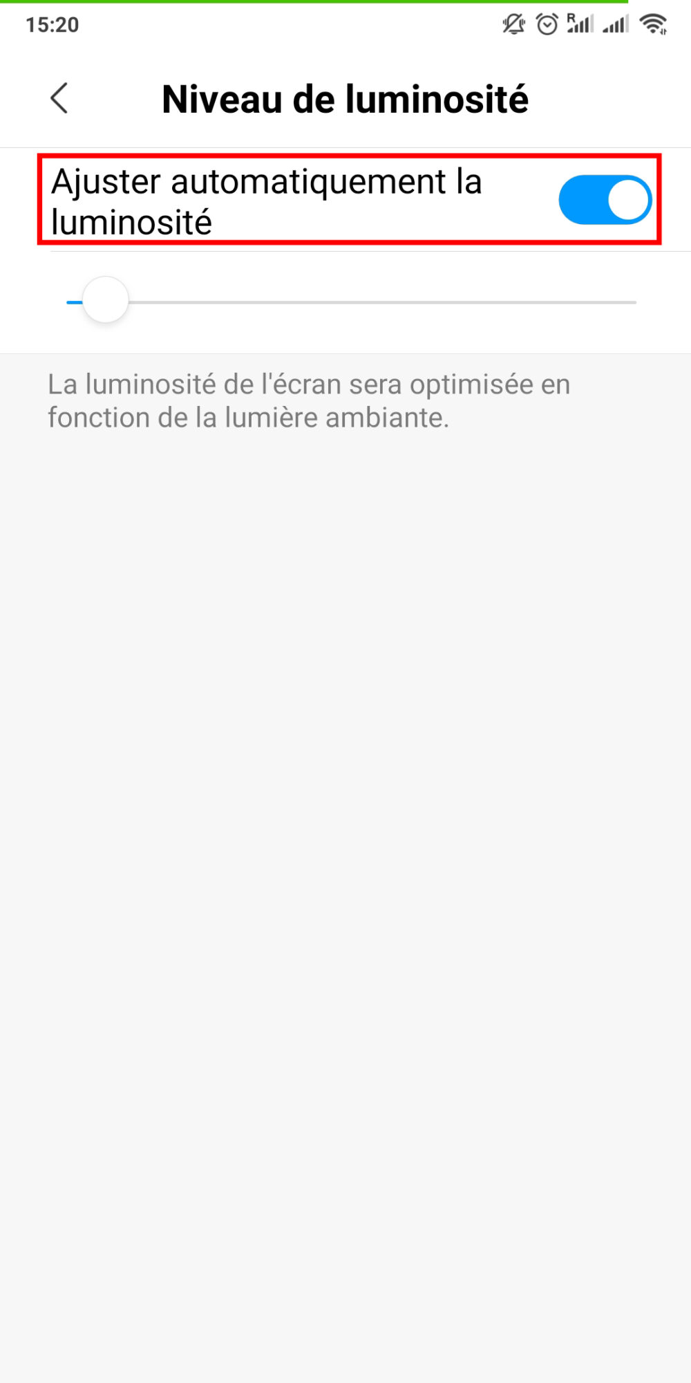 Activier luminosite automatique Android 3