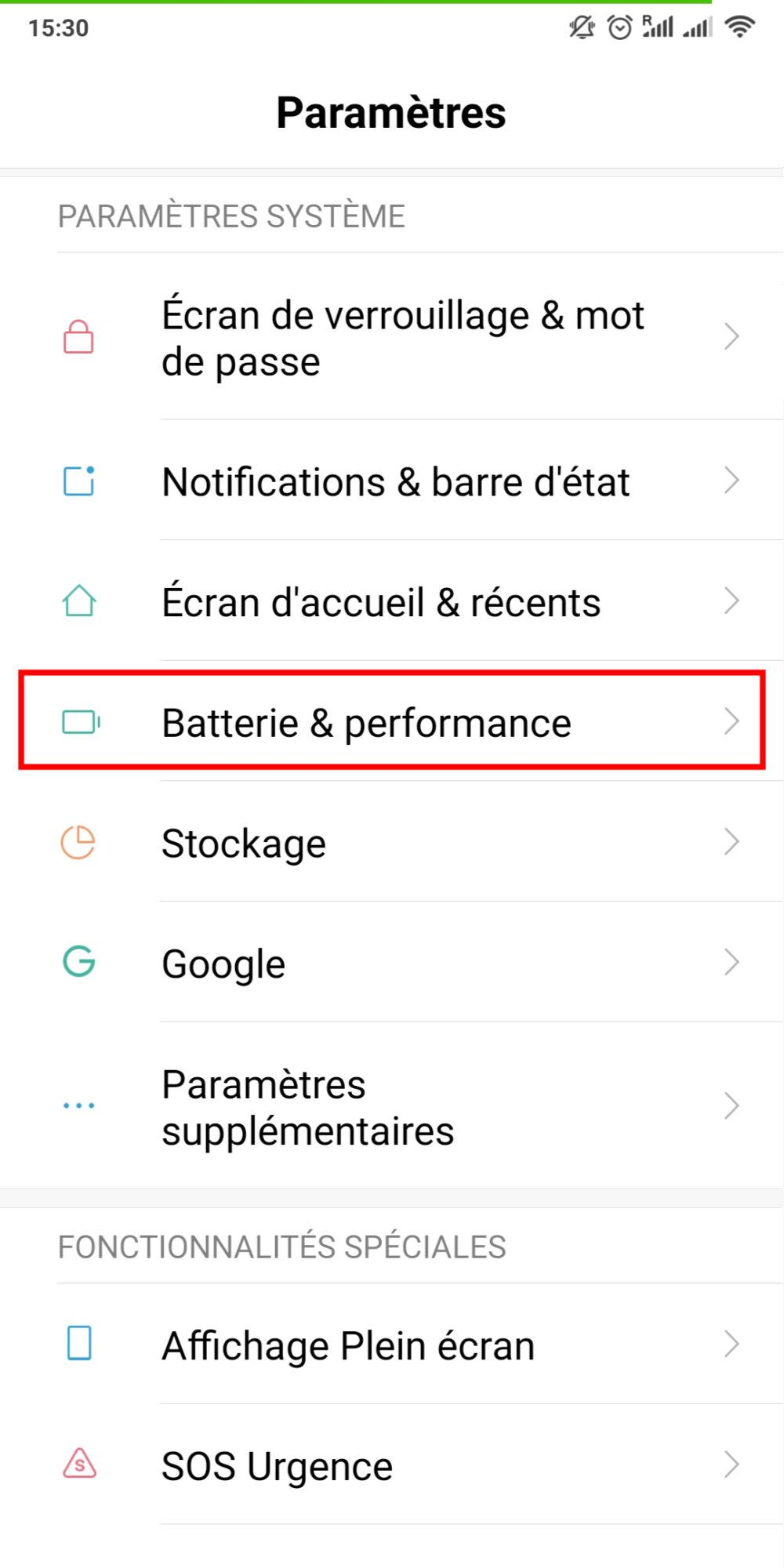 Batterie Adaptative Android