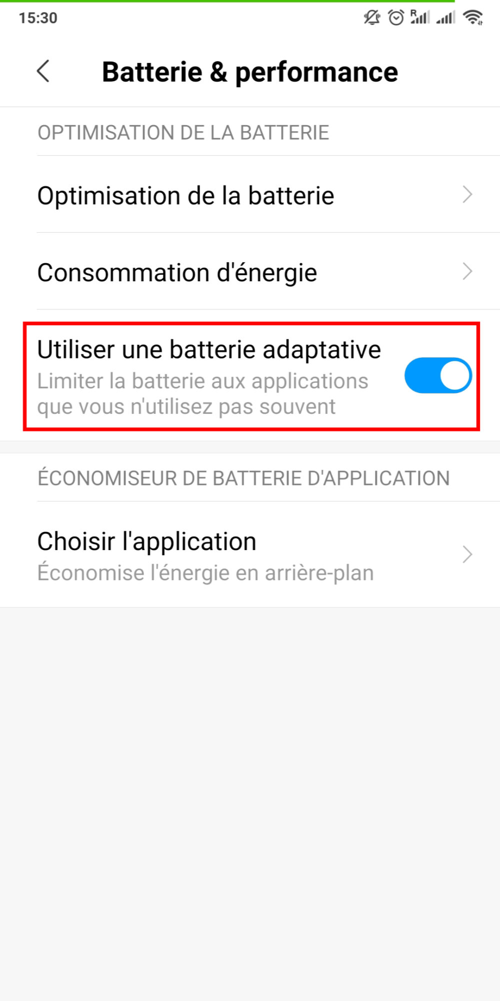 Batterie Adaptative Android 2