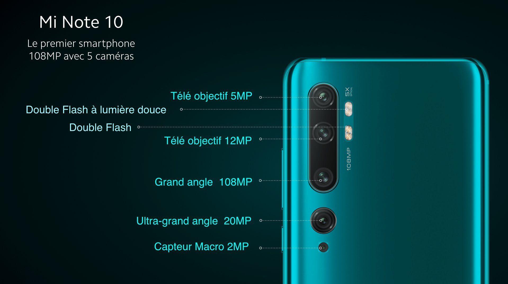 Xiaomi Mi Note 10 - Capteurs photo arrière