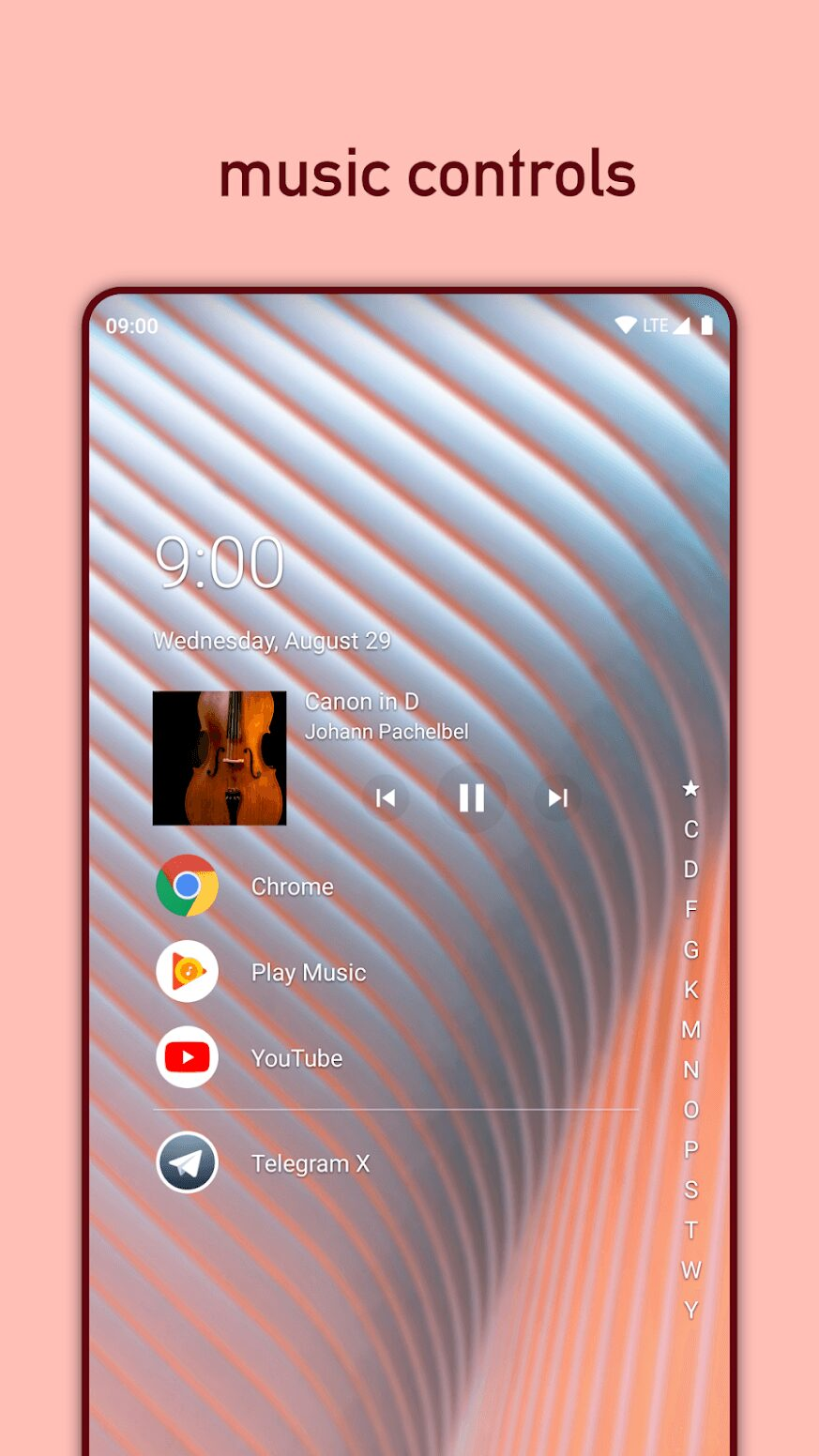 nova launcher android smartphone theme musique