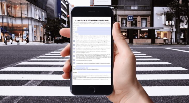 attestation de deplacement numerique sur smartphone