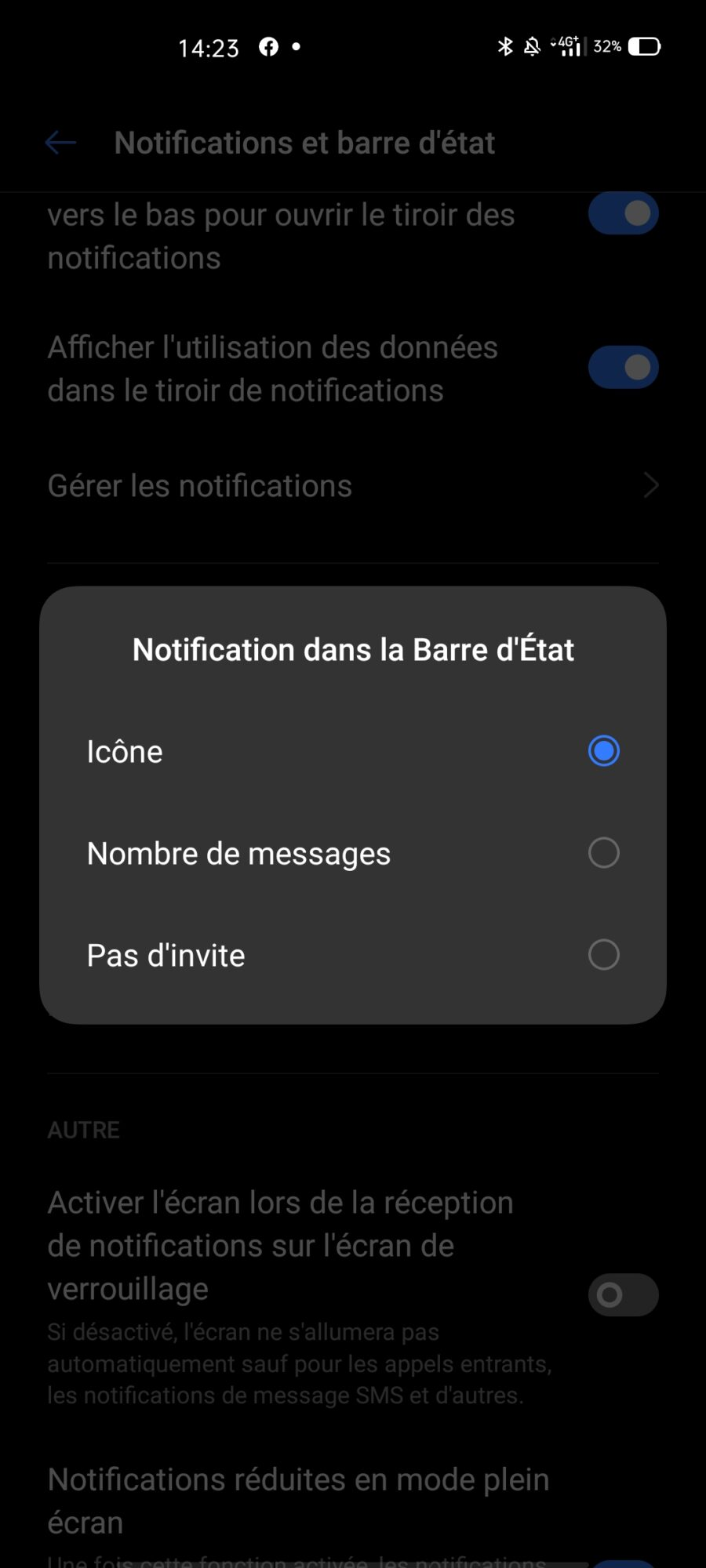 affichage notification