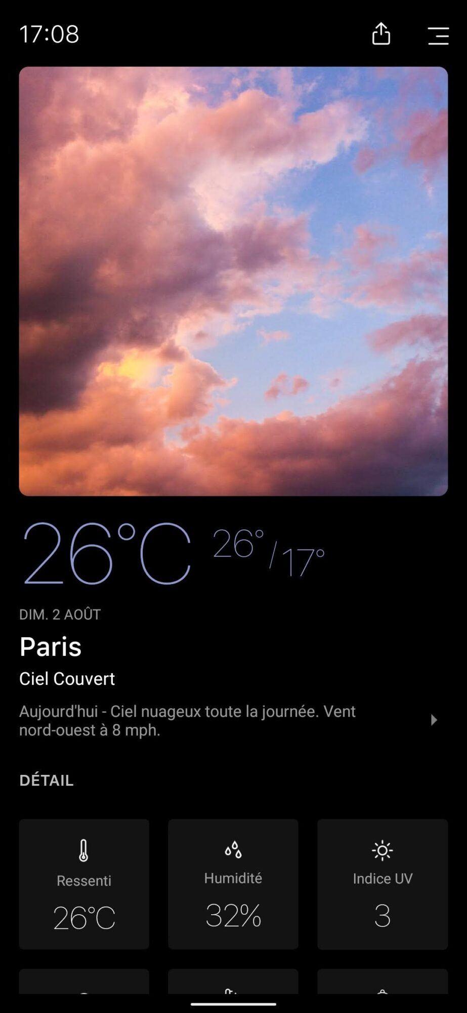 today weather mode sombre Dark Sky