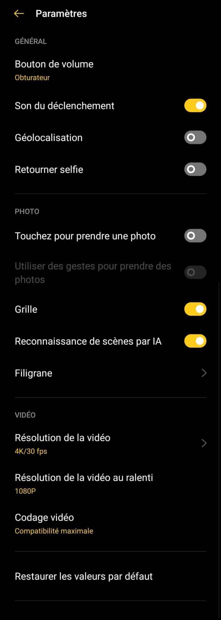 les réglages photo de l'Oppo X2 Lite