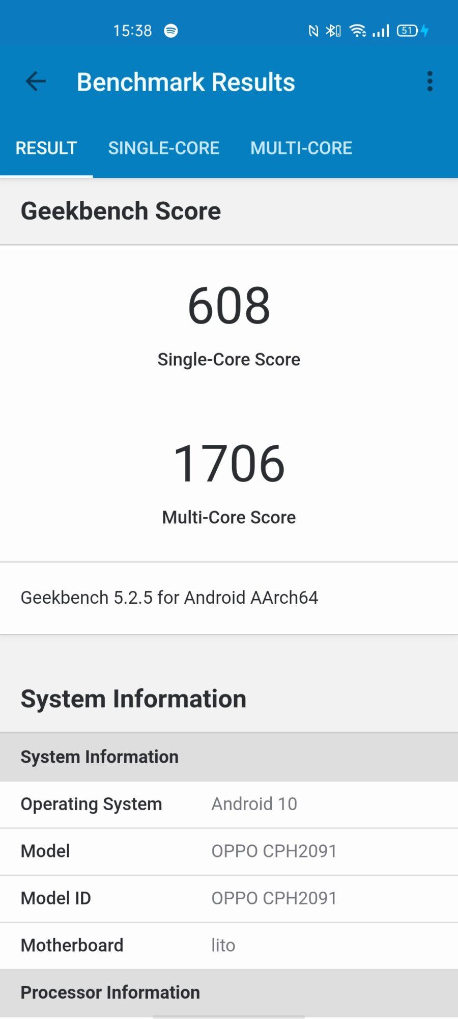 Benchmark Oppo Reno4 5G