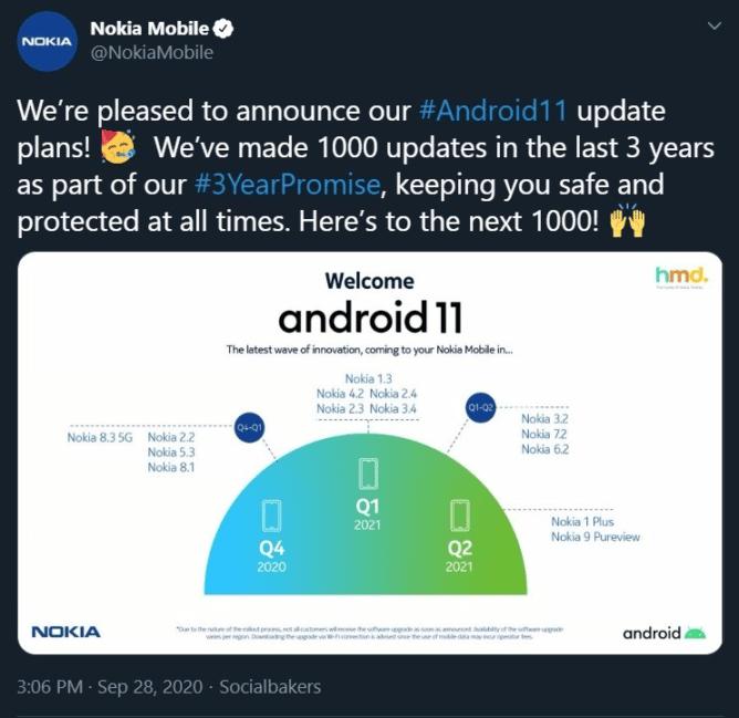 , Nokia supprime un tweet sur sa feuille de route de mise à jour Android 11