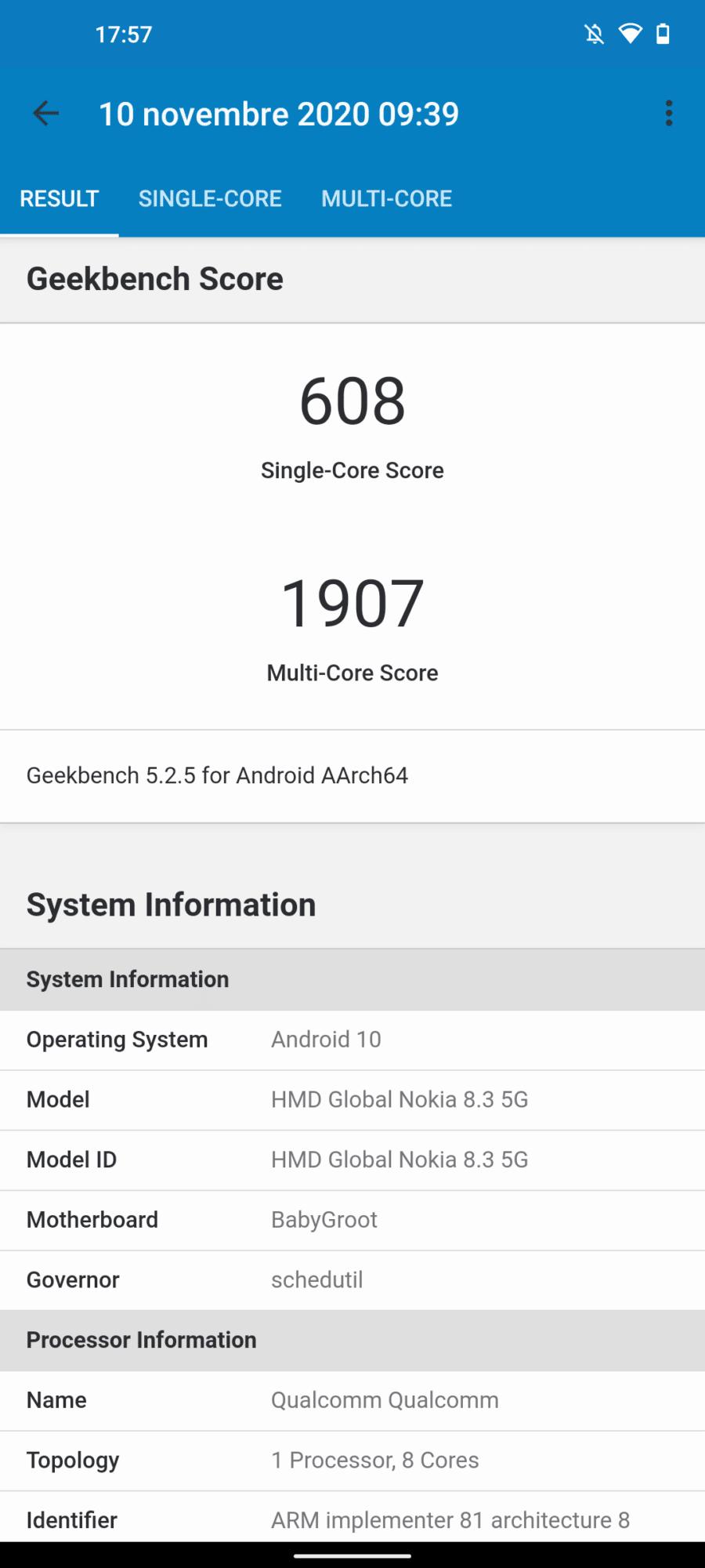 Performances Nokia 8.3 5G