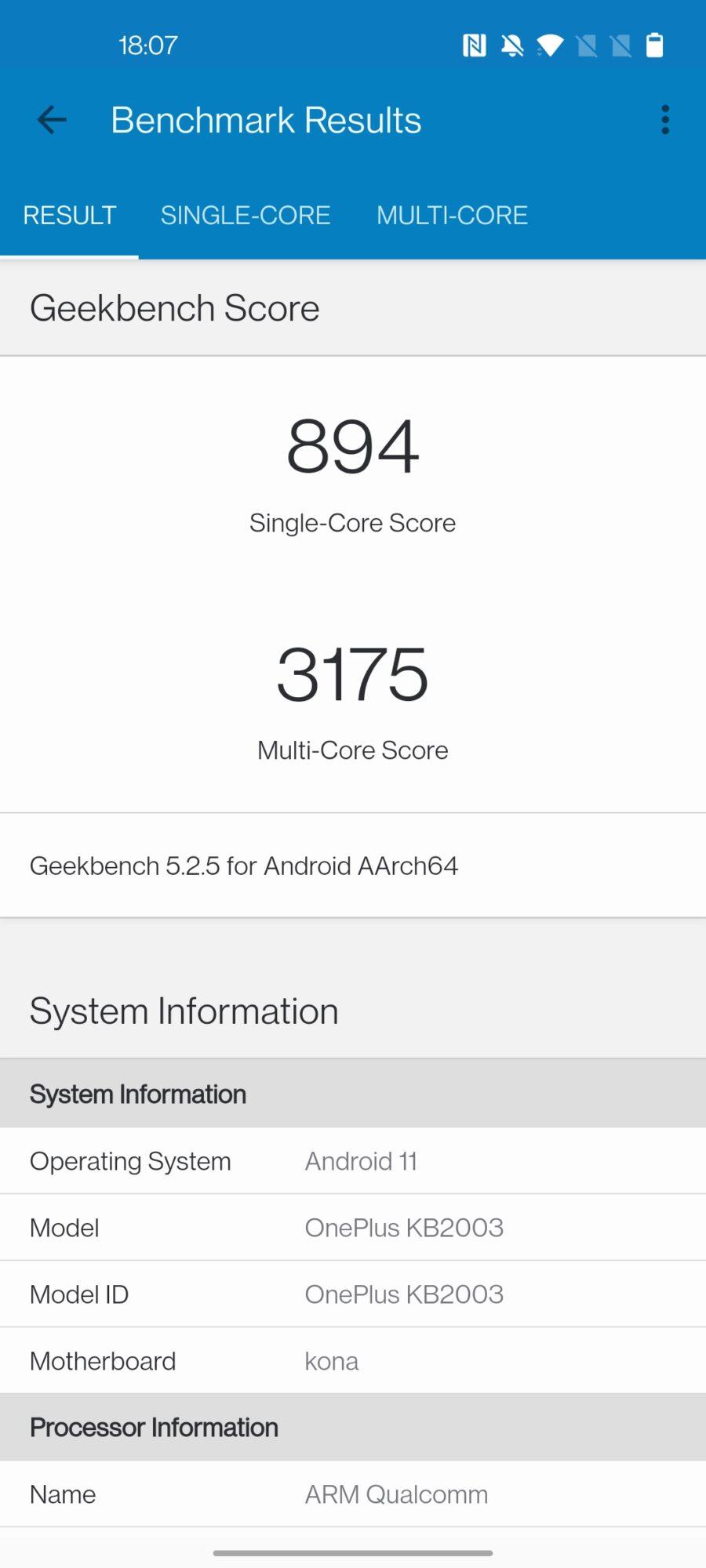 Geekbench 5 OnePlus 8T