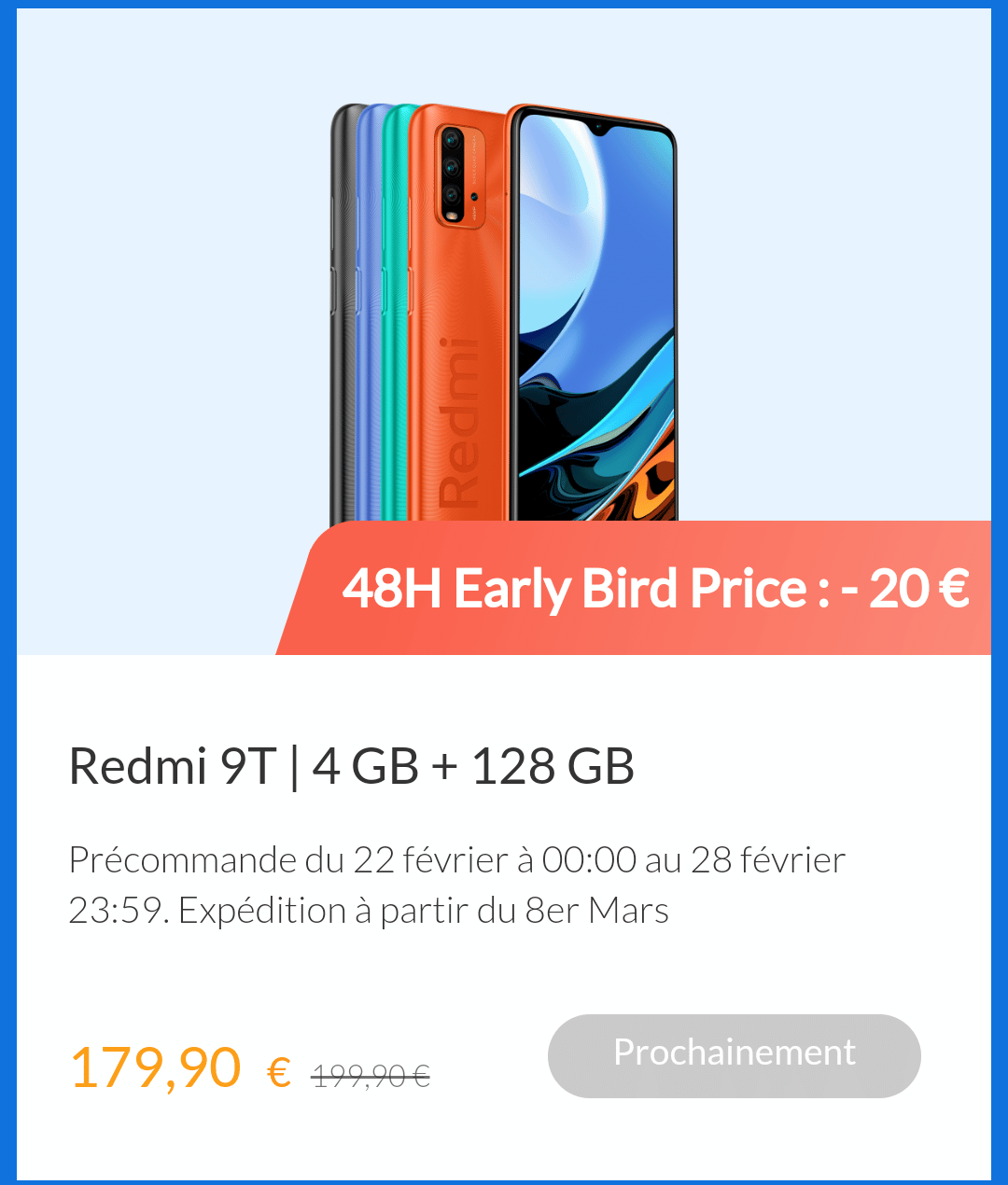 Redmi 9T, Bon plan – Redmi 9T 128 Go + de 20€ de réduction !