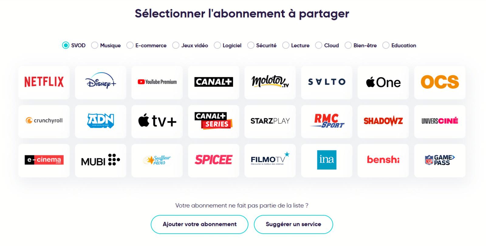 Abonnements proposés par Spliiit pour le streaming