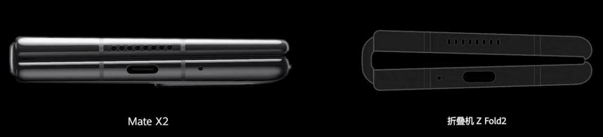 Huawei Mate X2 cotés épaisseur charnière
