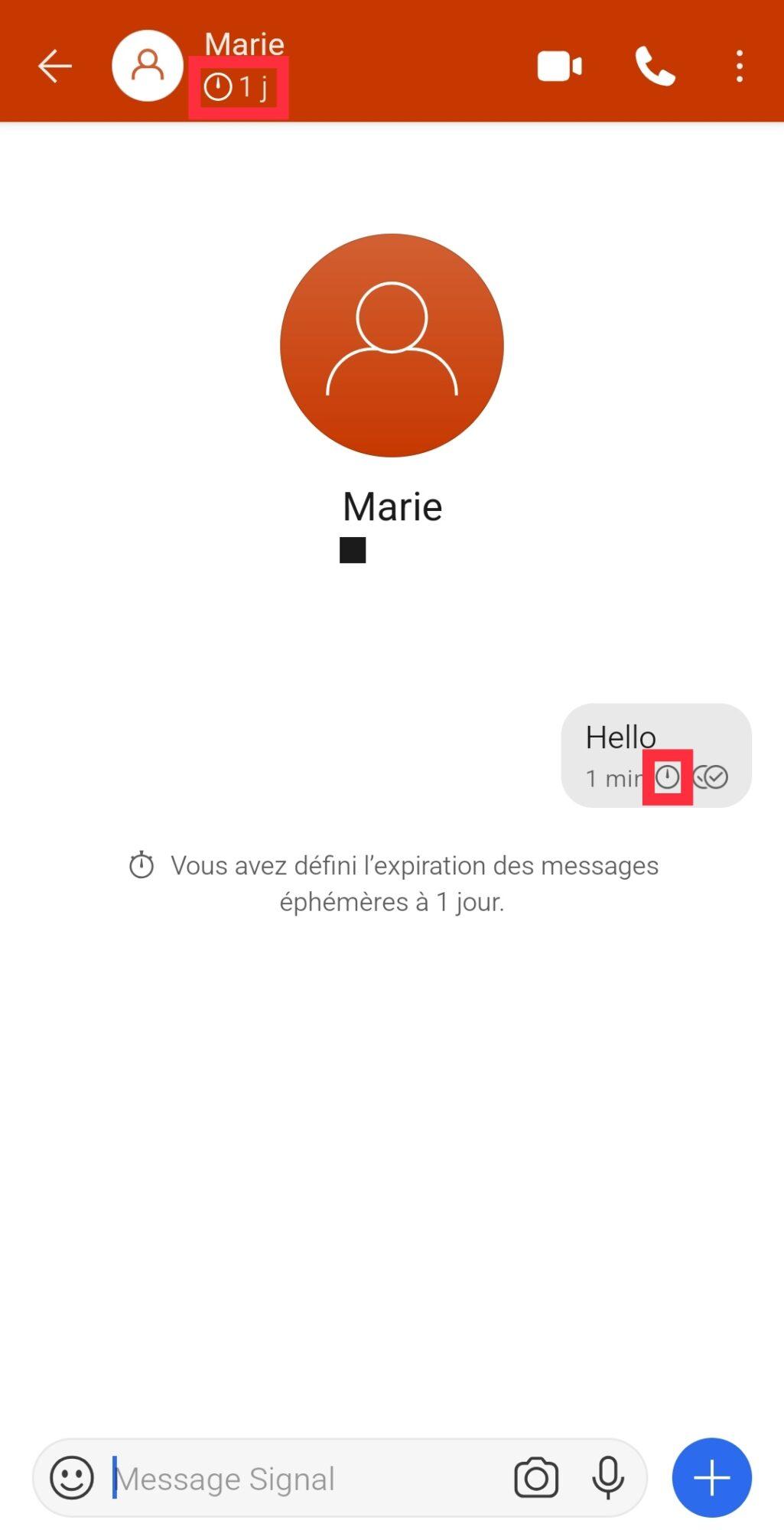 signal, Signal : envoyer des messages éphémères sur smartphone Android