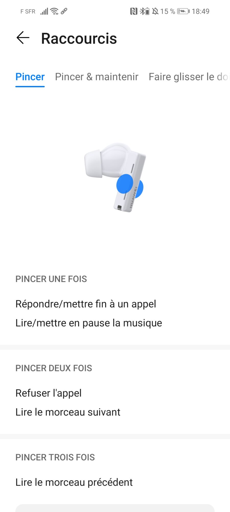 Huawei FreeBuds Pro Ai Life écouteurs bluetooth true wireless application mouvements interaction réduction bruit volume