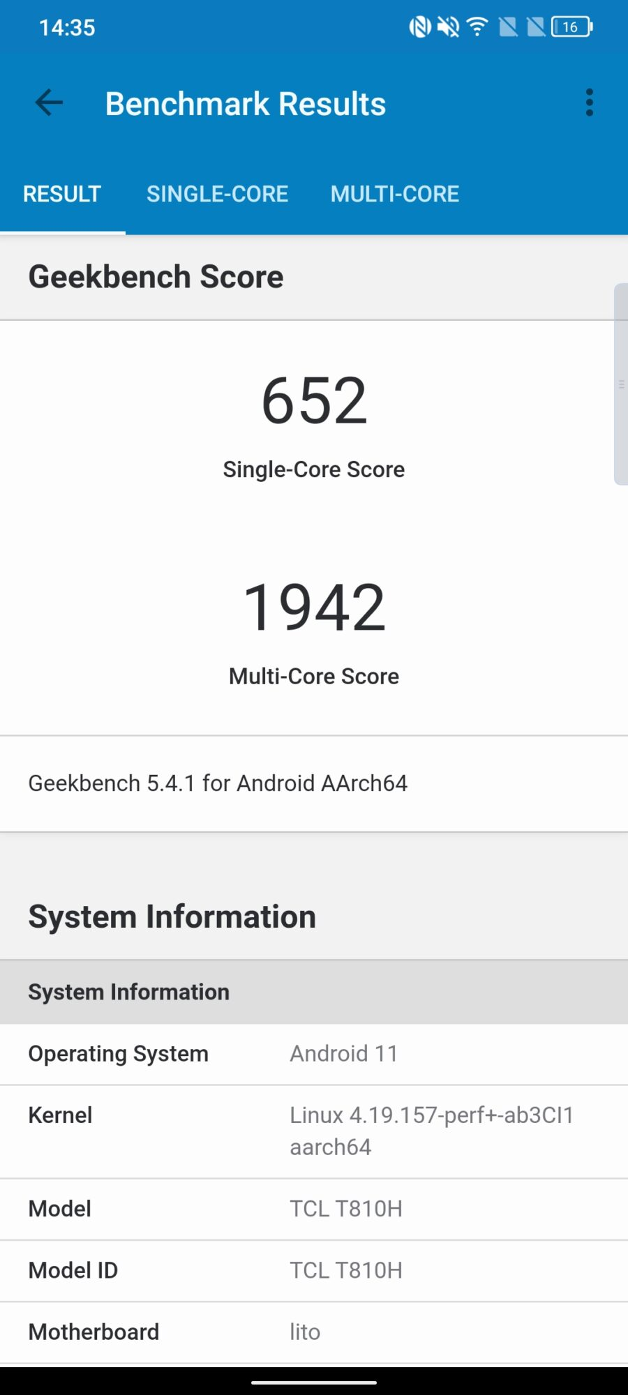 Geekbench TCL 20 Pro 5G