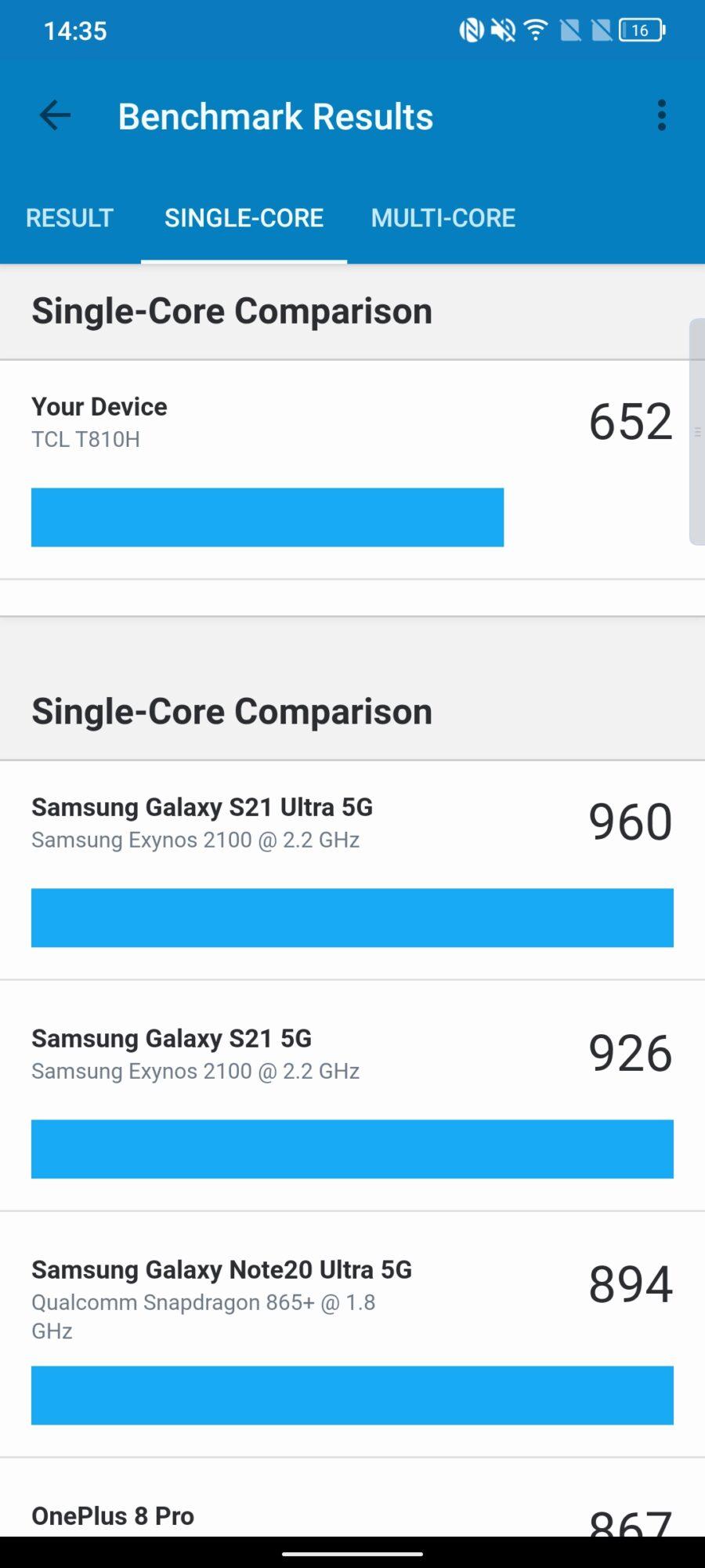 Geekbench TCL 20 Pro 5G Single-core
