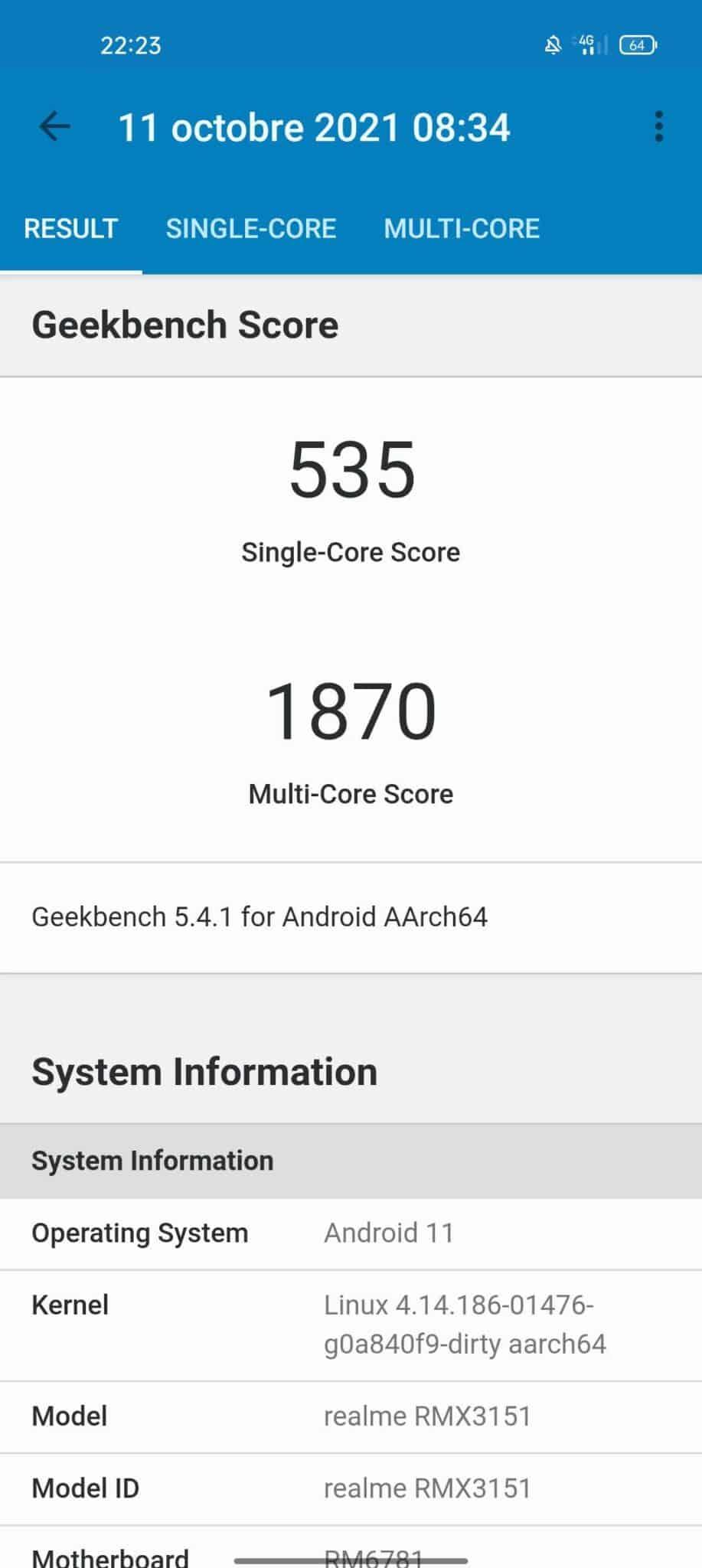 realme 8i benchmark geekbench